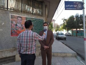 آئین نامگذاری کوچه شهید حقوق دانان بسیجی سلیم قنبری به مناسبت هفته دفاع مقدس برگزار شد